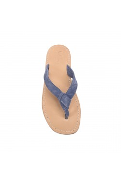 Sandalo con nodo in pelle scamsosciata color jeans