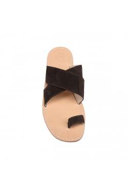 Sandalo scamosciato color cioccolato a fascia con infradito