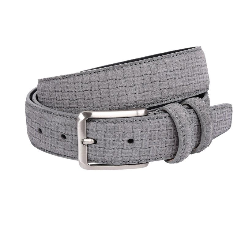 Cintura per bambino scamosciata ad intreccio color grigio