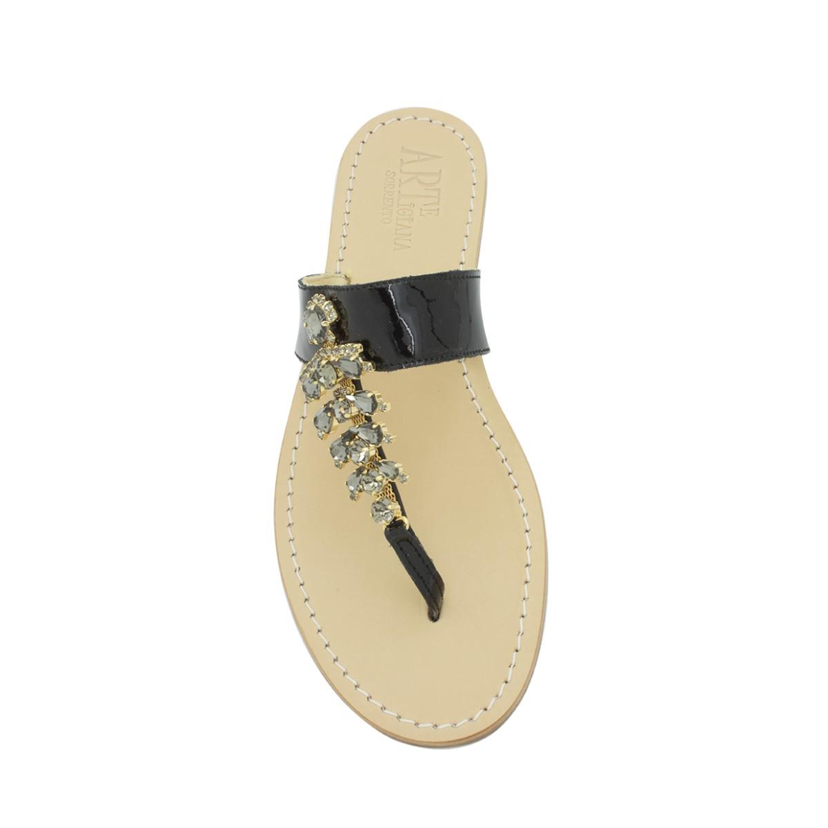 7401b6228175 Sandali gioiello Annamaria color nero lucido. Loading zoom