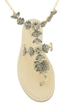 Sandali con cavigliera Anna color platino e pietre Swarovski nere