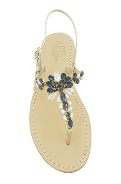 "Platinum Coloured Jewel Sandal ""Loredana"""
