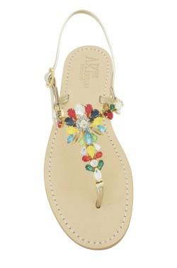 Sandali gioiello Loredana color platino con pietre multicolore