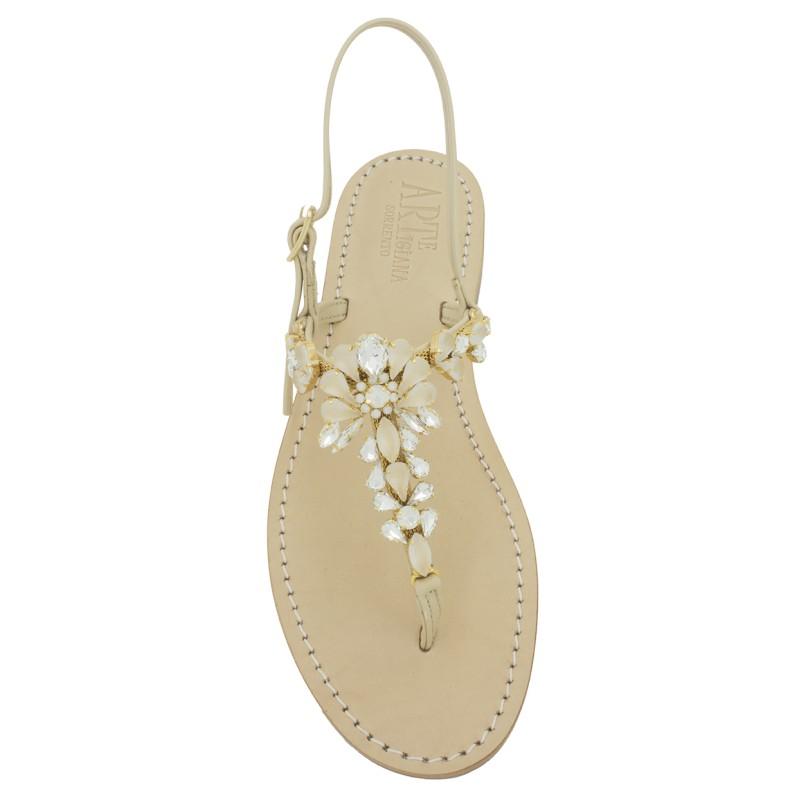 Sandali gioiello Loredana colore naturale e pietre beige