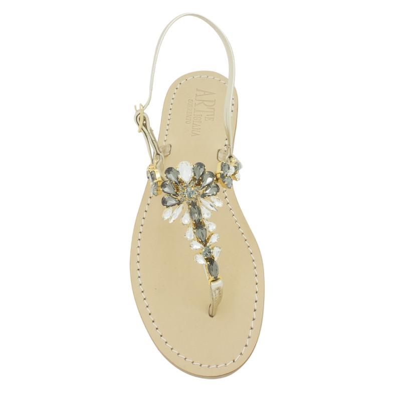 Sandali gioiello Loredana color platino con pietre color nero fumo