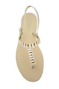 """Sandali gioiello """"Mary"""" color platino"""