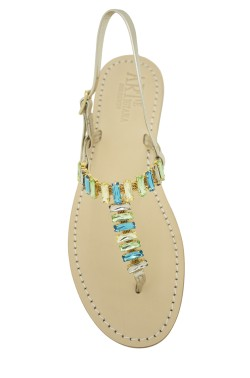 "Platinum Coloured Jewel Sandal ""Mary"""
