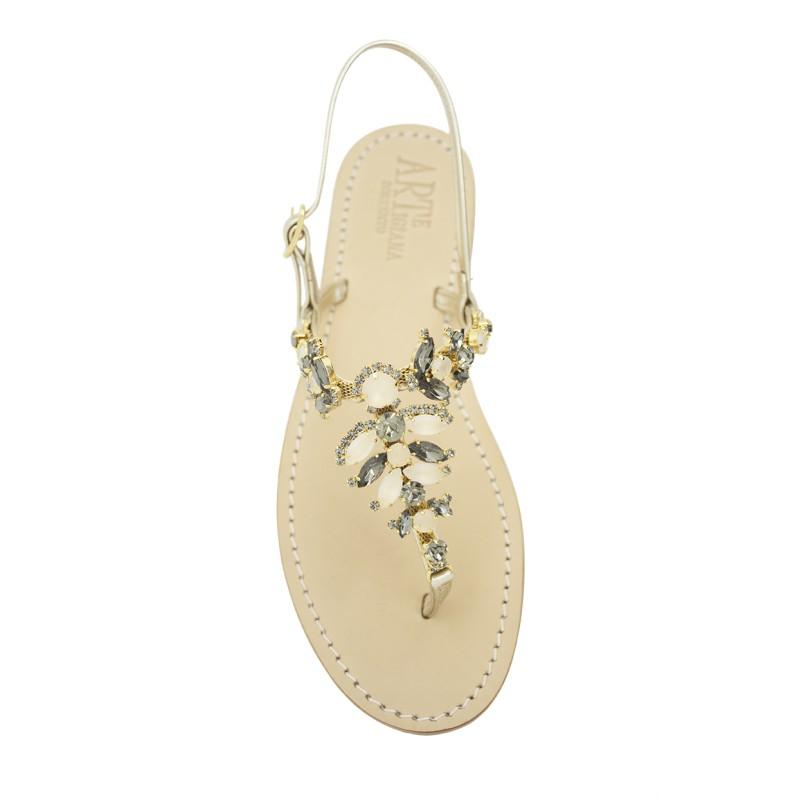 Sandali gioiello Olga color platino con pietre color beige e nero