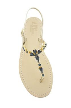 Sandali gioiello Valentina color platino con pietre blu