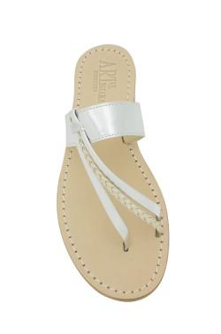 Sandali Italia color argento con treccia
