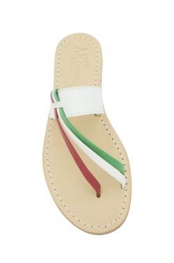 Sandali Italia color bianco con riporto bandiera italiana