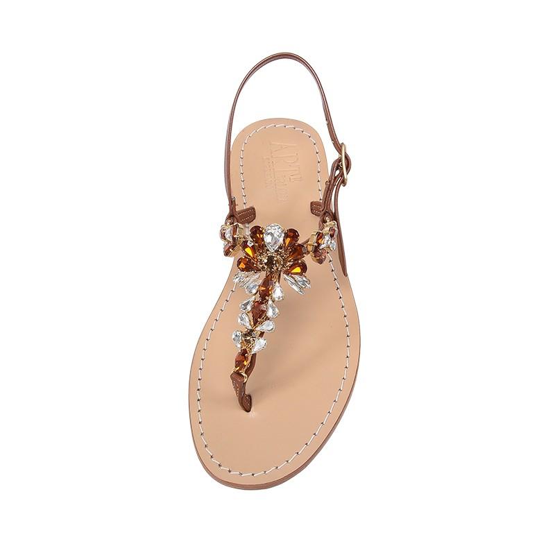Sandali gioiello Loredana color cuoio