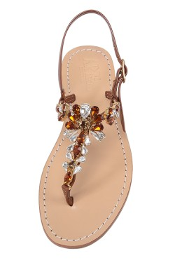 "Leather Brown Jewel Sandal ""Loredana"""