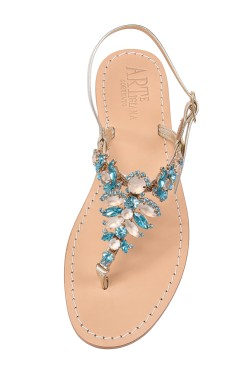 "platinum Coloured Jewel Sandal ""Olga"""