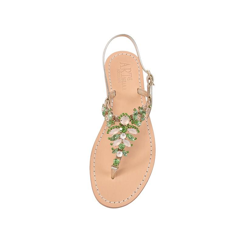 Sandali gioiello Olga color platino con pietre color beige e verde