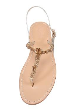 Sandalo gioiello Valentina color platino con pietre color ambra