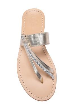 Sandali Italia colo platino con treccia argentata