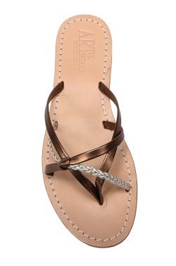 Sandali con nodo color bronzo con treccia