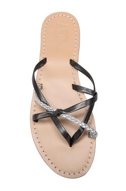 Sandalo treccina color nero