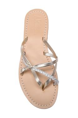 Sandali color platino con nodino e con treccia argentata