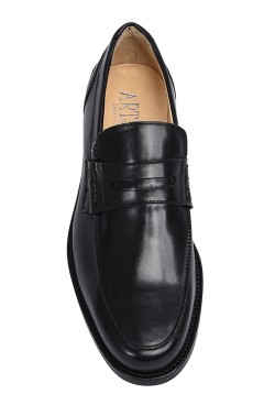Classicblack college shoes mocassin model with strip