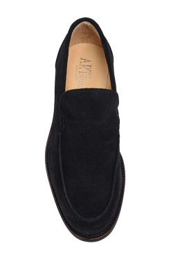 Classic blue suede college shoes mocassin model without strip