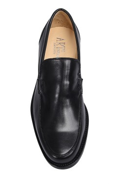 Classic black college shoes mocassin model without strip