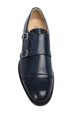 Classic blue college shoes derby model with buckles