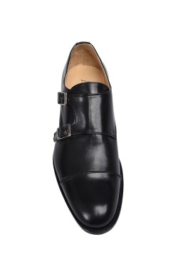 Classic black college shoes derby model with buckles