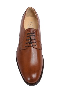 Classic leather brown college shoes derby model witht buckles