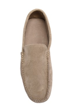 Beige Suede Mocassin in calf leather