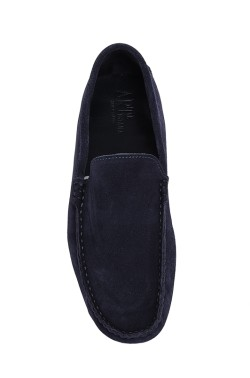 Blue suede  Mocassin in calf leather