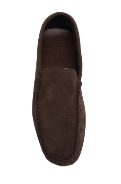 Choccolate brown suede  Mocassin in calf leather