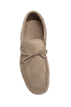 Beige suede  Mocassin with laces in calf leather