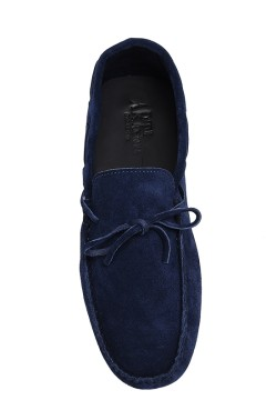 Blue suede  Mocassin with laces in calf leather