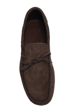 Choccolate brown suede  Mocassin with laces in calf leather