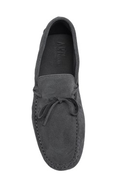 grey suede  Mocassin with laces in calf leather